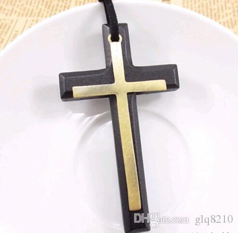 مزدوجة خشبية الصليب قلادة قلادة خمر سبيكة الجلود الحبل سلسلة سترة الرجال النساء عشاق المجوهرات الأنيقة 12 قطع