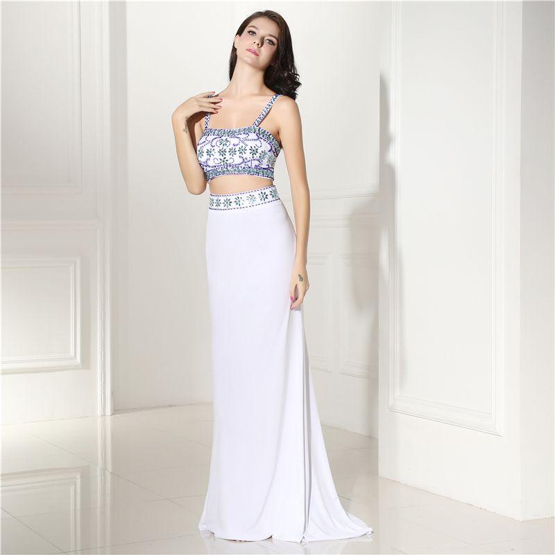 Spaghetti Straps Two Piece Mermaid Prom Dress Square Neck Sleeveless ...
