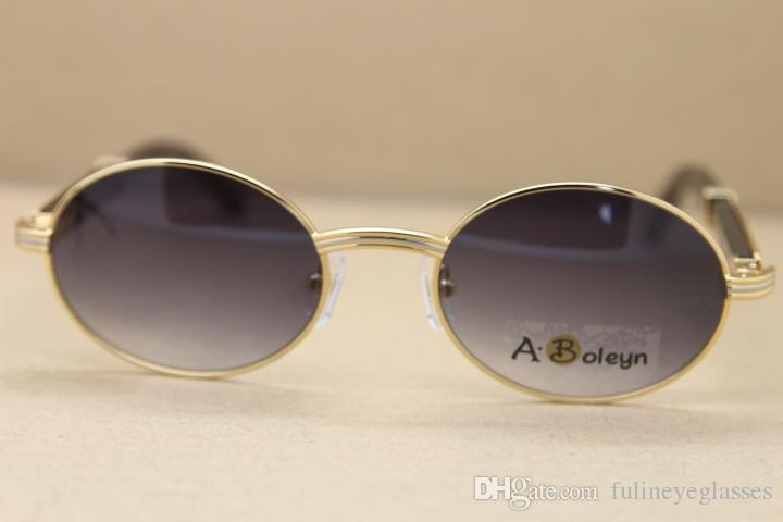 Hot 2822546 Round Metal Sun glasses Black Genuine Natural Buffalo horn Sunglasses C Decoration gold frame glasses Frame Size:53-22-135mm