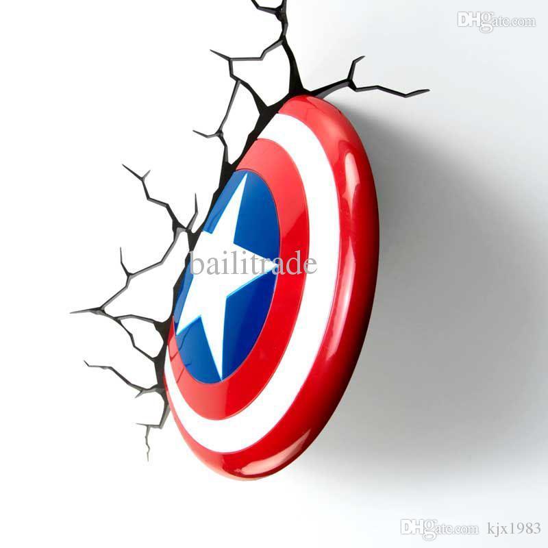 2018 Wholesale 2015 New Dream Master Marvel Captain America Shield Creative  3d Lamp Led Wall Light Of Captain America Shield From Kjx1983, $92.75 |  Dhgate.