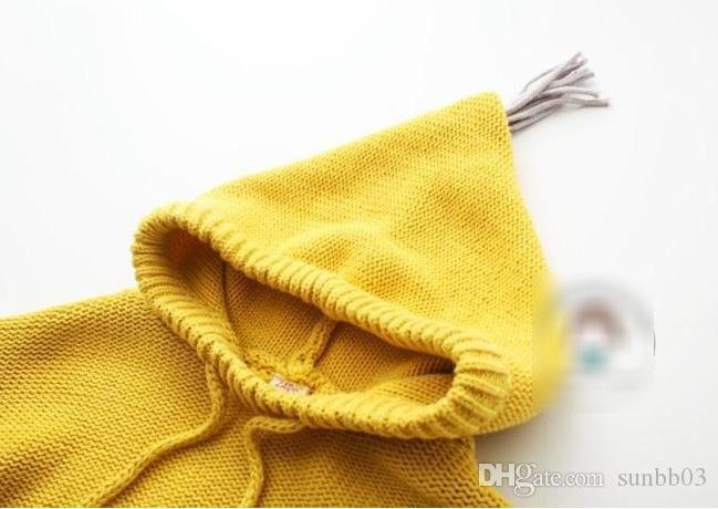 Spring Kids Sweater Girls Tassel Hooded Knitted Sweaters Outerwears Baby Children Knitwear Pullovers Child Clothing Yellow Gray 10894