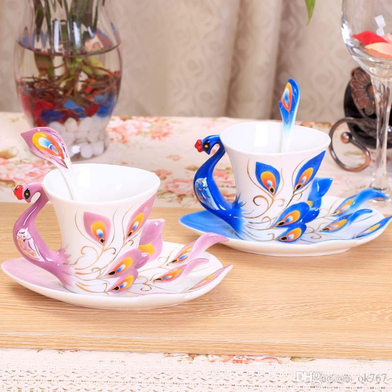 Wholesale-Peacock Cup Mugs Ceramic Painting Creative Cup Bone China 3D Color Emamel Porcelain Saucer Spoon Coffee Tea Sets Christmas Gift