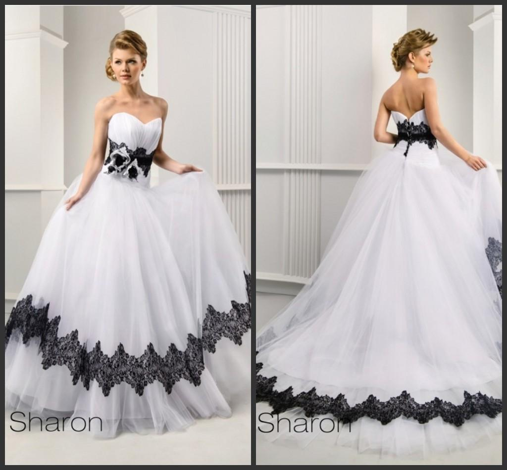 Discount 2015 Charming Black And White Wedding Dress Sweetheart A Line Ruffle Backless Dresses Tulle Applique Court Train Bridal Ball Gowns