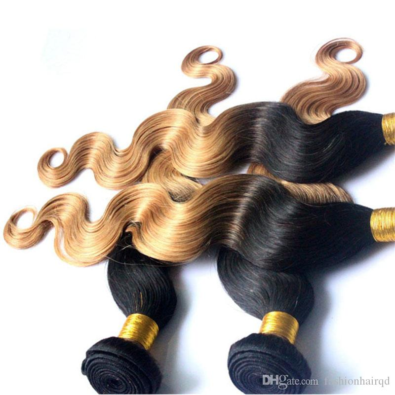 T1b 27 Ombre Brazilian Body Wave Human Hair Weaves Cheap Two Tone 3 Bundles Peruvian Indian Malaysian Virgin Hair Weft Extensions