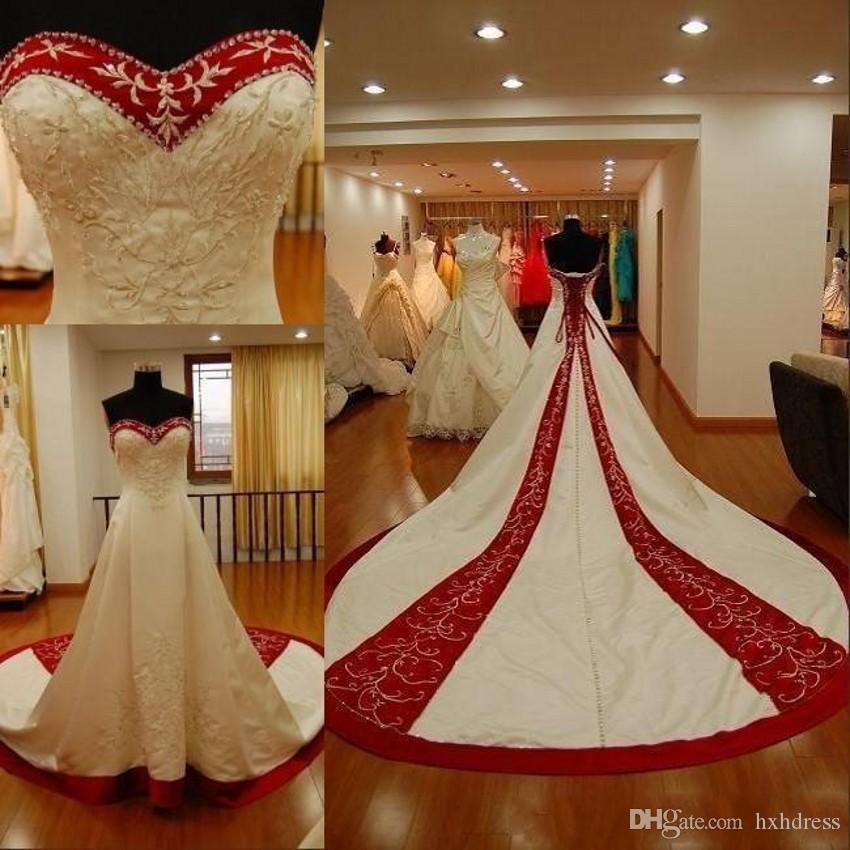 2020 Vestidos Red tradicional e branco bordado Plus Size Wedding Custom Made Corset Voltar Novia Querida Capela Train Vestido de Noiva 377
