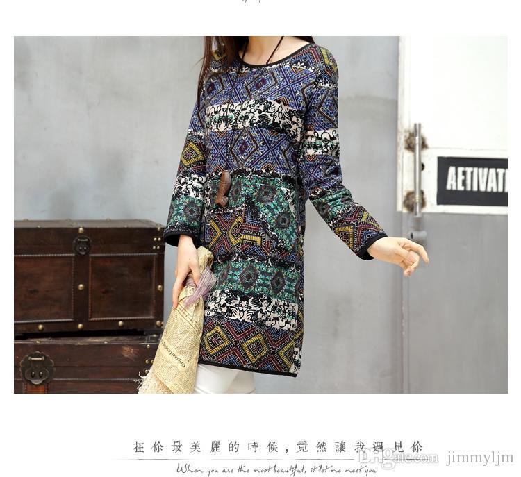 Kıyafet yeni büyük metre elbise baskılı pamuk kalınlaşma uzun uzun kollu elbise kadın Örme Elbise Belle Retro Keten Elbise