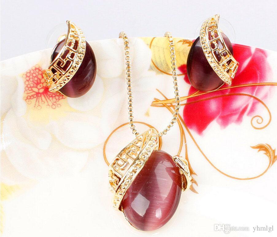Benzersiz Tasarım Romantik Oval Opal Taş Kolye Necklace18K Altın Kaplama Kolye Küpe Takı Kadınlar Için Set Düğün Seti