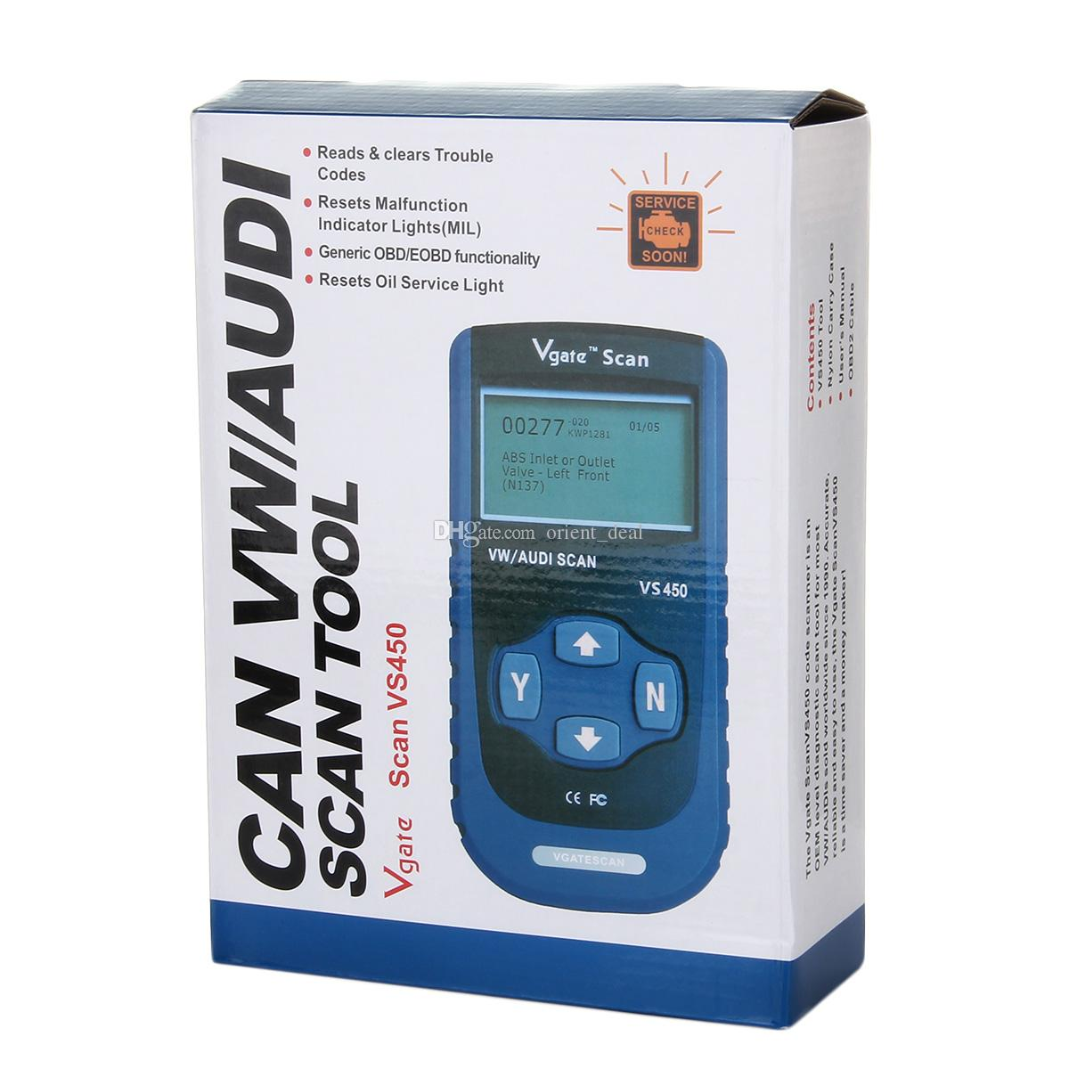 Vgate VS450 16pin OBDII EOBD Auto Scanner Diagnostic Tool Code Reader for VW/AUDI ISO 14230 CARB CAN