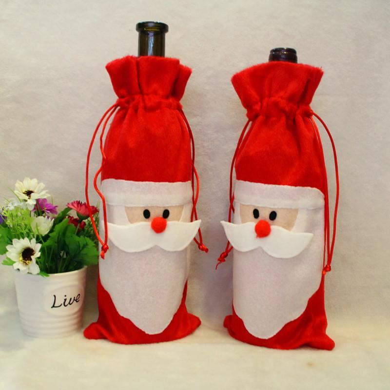 Cheap Christmas Red Wine Bottle Cover Bags Package Bag Dinner Table Decoration Home Party Decors Santa Claus Christmas bag Supplier