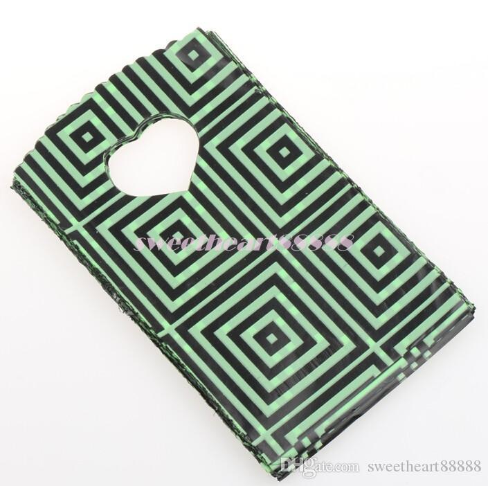 9X15cm 15X20cm Vert Foncé Avec Des Motifs De Géométrie Noir Pochettes Sacs En Plastique Bijoux Sac Cadeau