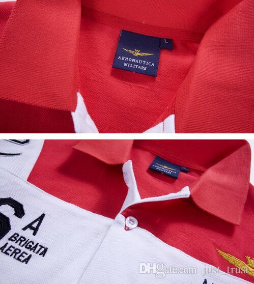 2016 Nuevos hombres de la Fuerza Aérea Ejército Bordado Polos Camisas Patchwork de Moda Golf hombres Camisetas Polos Hiphop Caballo Polo Camisetas para hombre