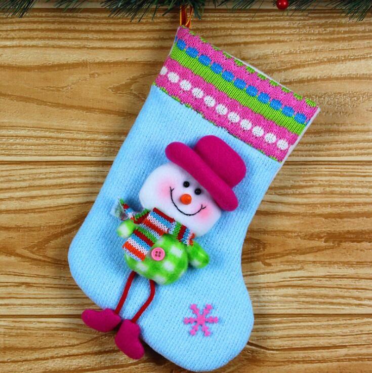 2017 Hot Sale Santa Claus Snow Man Reindeer Doll Christmas Decoration Xmas Tree Hanging Ornaments Pendant Kids Best Gift Christmas socks