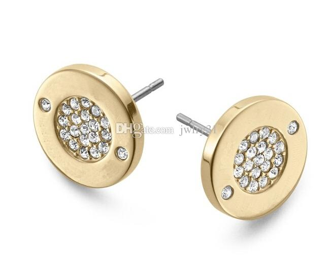 New Design Siver/18K Rose Gold CZ diamond Circle Stud Earrings For Women Fashion Jewelry Beautiful Wedding / Engagement Gift