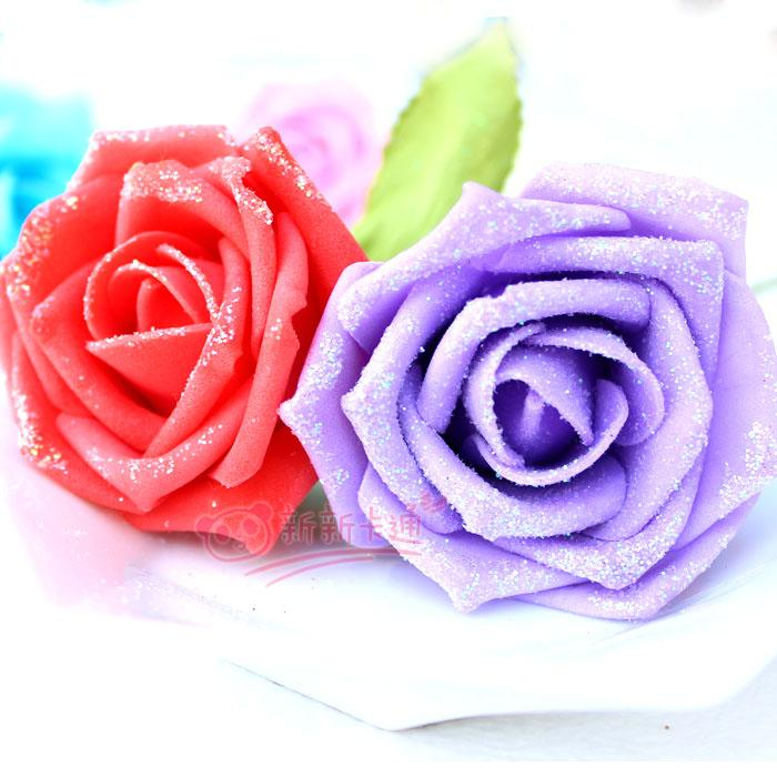 Best Nine Color Glitter Foam Roses Single Simulation Cartoon Flower For Wedding Decoration Artificial Flowers Bouquet Gifts Under 2783