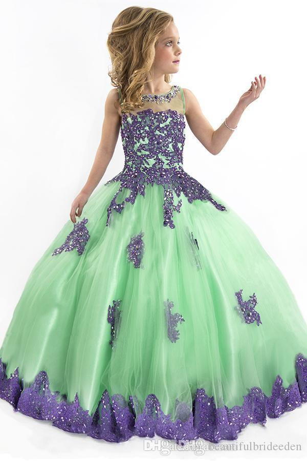 Vintage Ball Gown Flower Girl Dresses Green With Purple Lace Cute Pagent Dresses For Girls Crew Sheer Back Floor Length Gowns