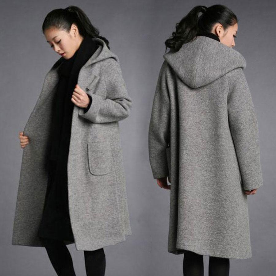 Kadınlar Uzun Yün Karışımı Ceket Kapşonlu Gevşek Kalın Ceket Kış Sıcak Pelerin Parka Palto Şık Kalın Yün Ceket Kış Sıcak Uzun Gevşek Jack