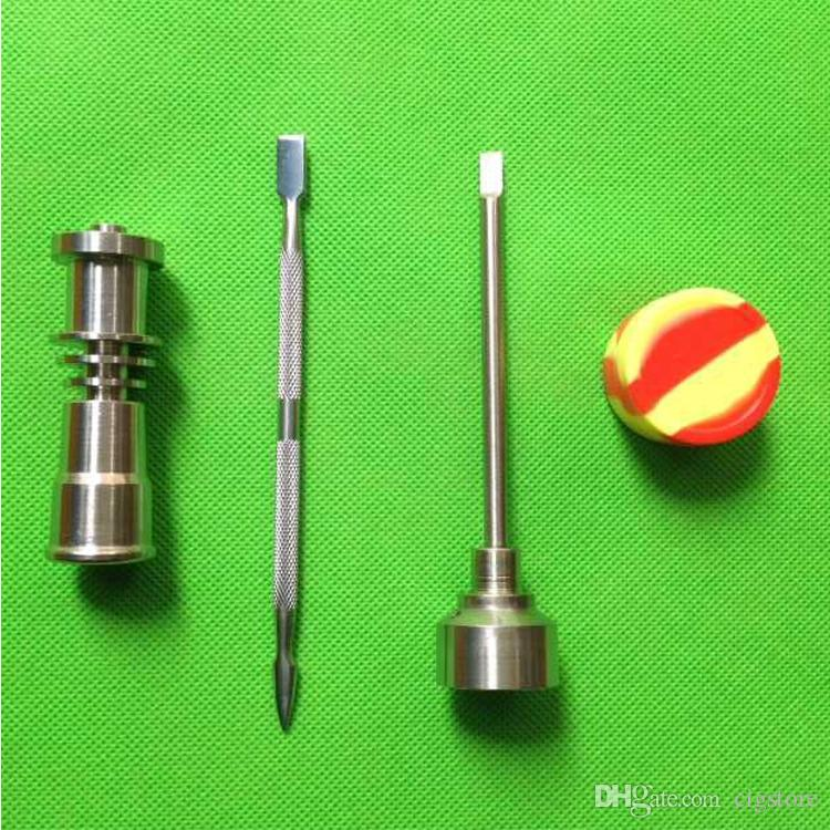 Set di strumenti bong 16mm Domeless Gr2 Titanium Nail Carb Cap Dabber Slicone Jar Bong Tubi acqua da fumo