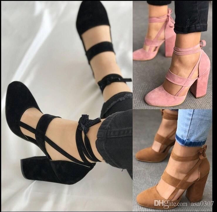 333b45b28b71 Fashion Female Ankle Strap High Heels Flock Cross Straps Chunky Heel 2018  Women s Wedding Pumps Plus Size Ladies Shoes Women Dress Shoes Online with  ...