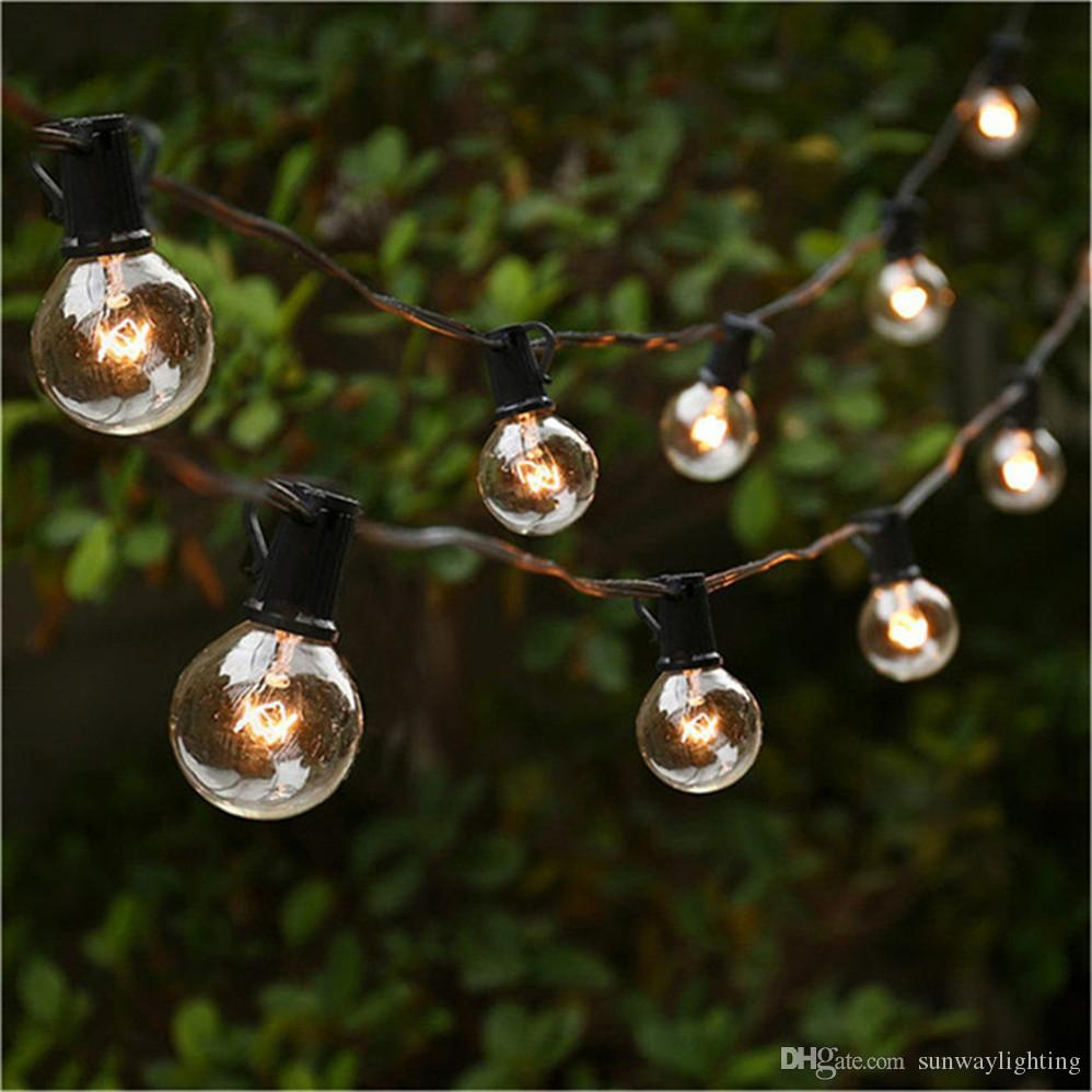 Patio Lights G40 Globe Party Christmas String Light,Warm White 25clear  Vintage Bulbs 25ft,Decorative Outdoor Backyard Garland Led String Lighting  Blue Led ...