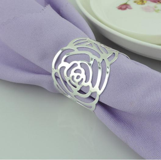 silver gold napkin rings wedding napkin holder wedding favors decoration supplies pierced rose shaped metal ring for napkin table dinnerware - Wedding Napkin Rings