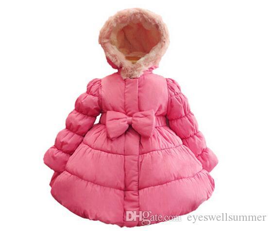 2014 Nowy Rok Dziewczyna Down Płaszcz Koreański Brand Big Bowknot Dzieci Bawełna Wyściełane Płaszcze Pink Rose Red Gright% 100 Ciepłe Dzieci Znosić