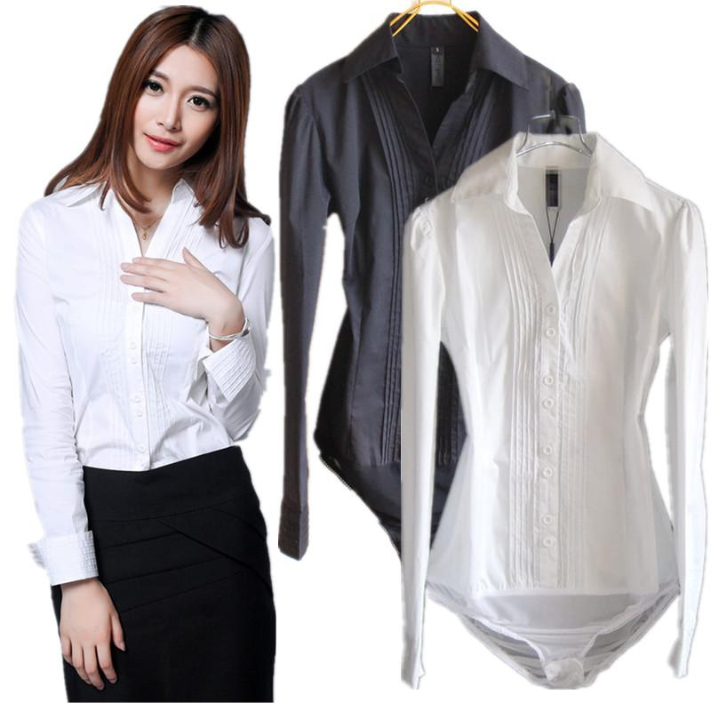 2019 Spring Autumn Women S Elegant Long Sleeve Lapel Neck OL Slim Bodysuit  Shirt Blouse Top Jumpsuit White a8253401b