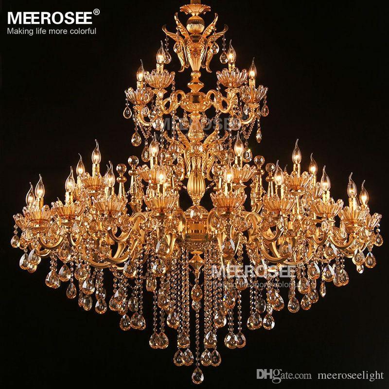 Large Royal Golden Crystal Chandelier Lamp Lustres Cristal Suspension Project Lighting Hotel Resteruant Villa Luminaire Lights