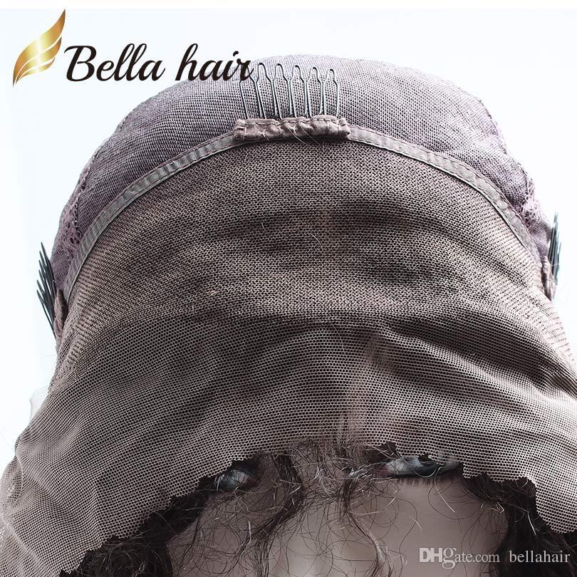 ベラ毛ストレートインドのフルレースウィッグ人間の髪100%ヒトのバージンヘアウィッグ黒人女性の中帽自然色