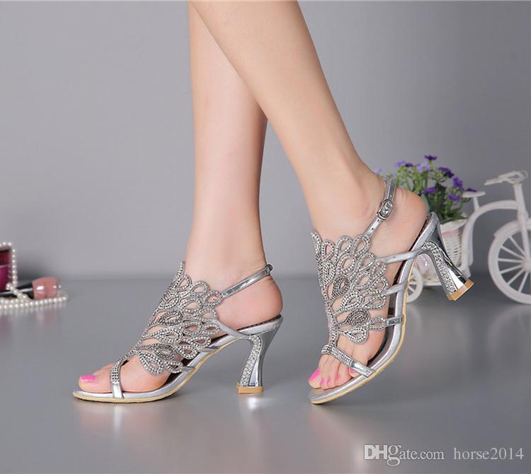 Sommer Neue Sandalen Blockabsatz Floral Silber Hochzeit Kleid Schuhe Strass Luxuriöse Echtes Leder Prom Party High Heels