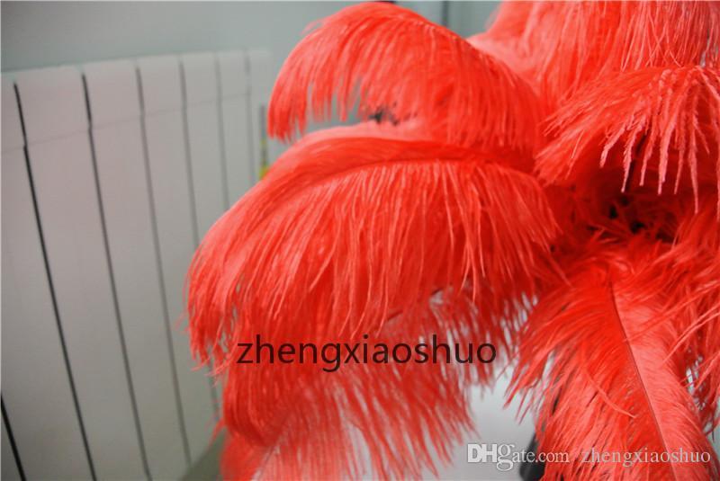 도매 / 14-16inch 35-40cm 붉은 타조 깃털은 결혼식 centerpieces 홈 파티 용품 장식을위한 깃털