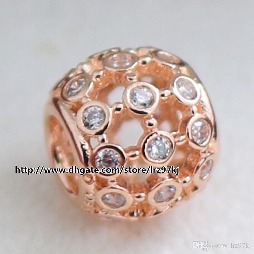 Стерлингового серебра 925 Роуз позолоченные ажурные абстрактный Шарм шарик с Cz подходит Европейский Pandora ювелирные изделия браслеты ожерелья ожерелья