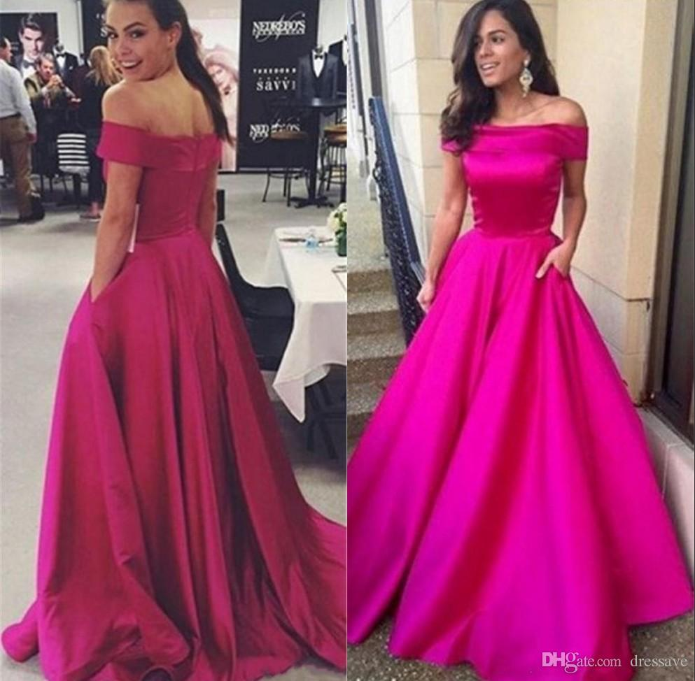 Fuchsia Prom Party Dresses With Pocket 2018 Sexy Off The Shoulder ...