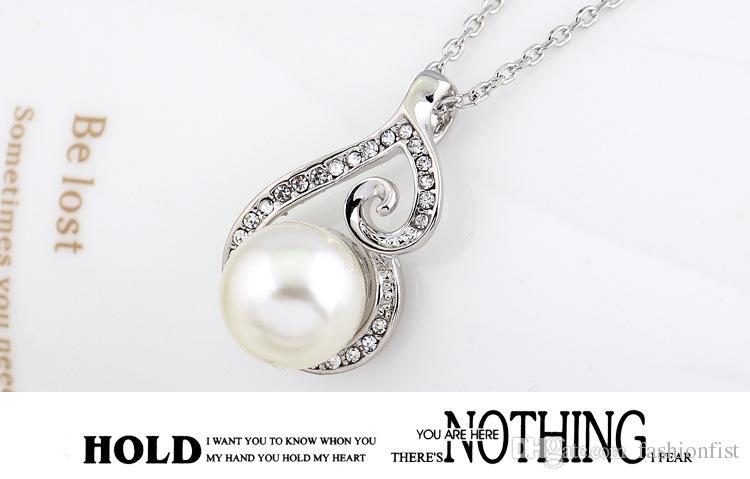 2016 nuove donne di cristallo collana pendente ciondolo gioielli orecchino set 925 gioielli in argento collana a catena vendita