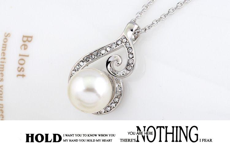 2016 Yeni Kadın Kristal Inci Kolye Kolye Küpe Takı Seti 925 Gümüş Zincir Kolye Takı 12 adet Satış