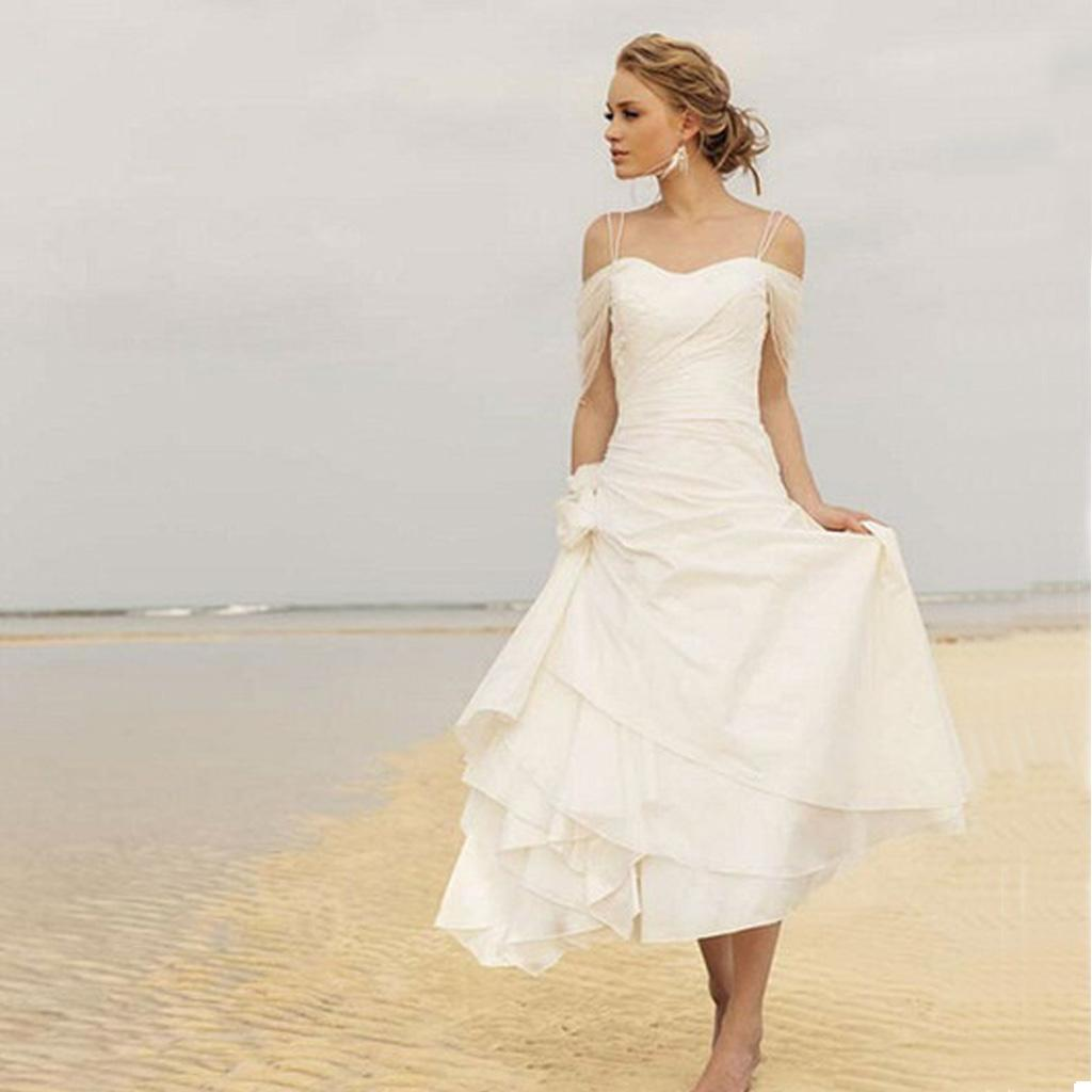 Fabulous tea length beach wedding dress a line spaghetti for Mid length wedding dress