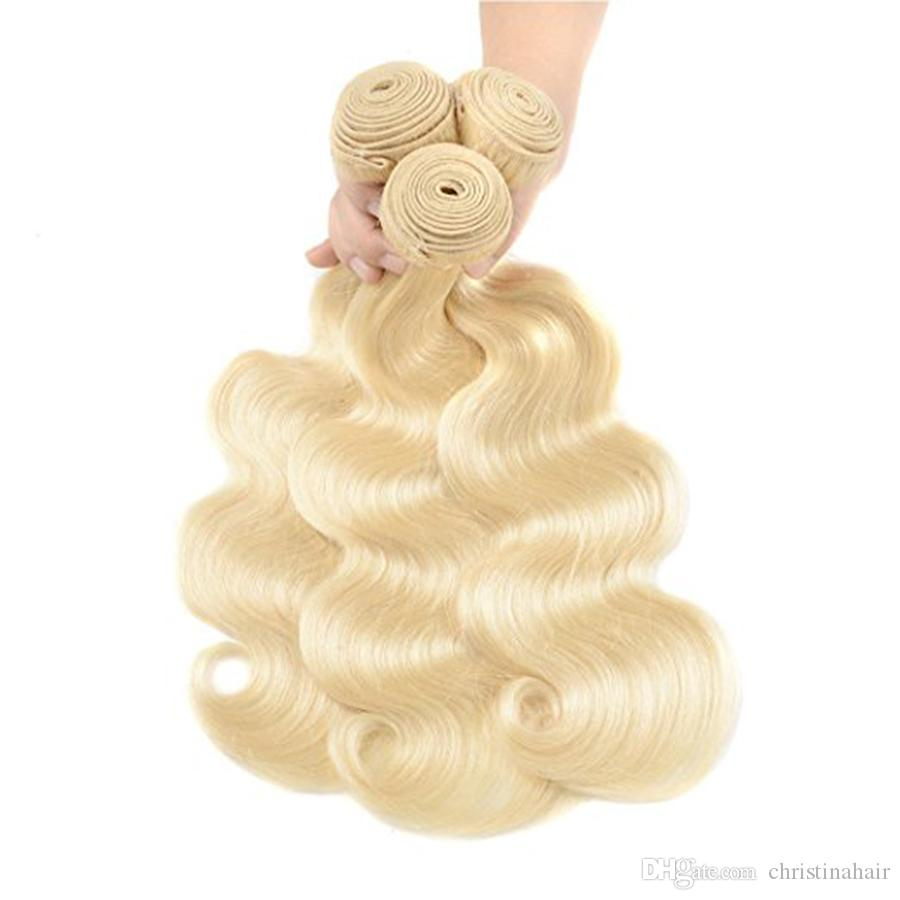 8A Peruvian Virgin Hair Weaves Body Wave Color #/613 Mixed Length Brown Blonde Human Hair Extensions Can Be dyed