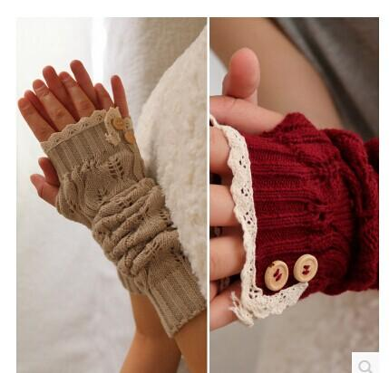 2017 Solid Lace knitted Fingerless Gloves Ballet Dance button glove burn out long Arm Warmers mitten Fashion #3706