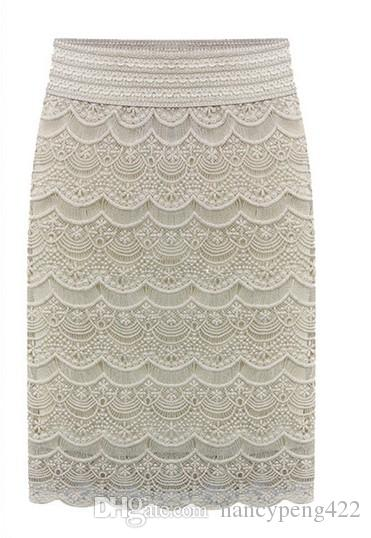 Primavera verano encaje lápiz faldas para mujeres 2018 nueva moda de cintura alta damas de oficina delgado Beige negro de cintura alta Jupe falda Saias Faldas
