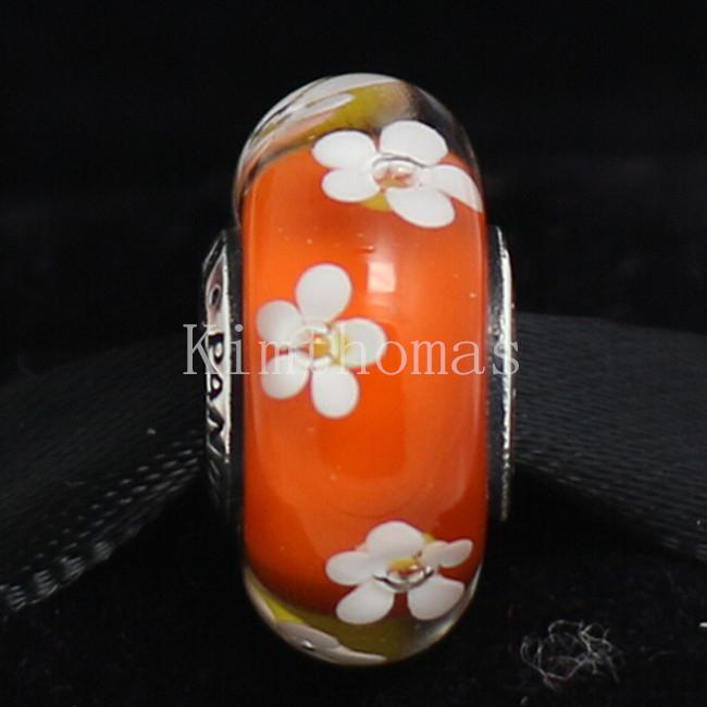 DIY Loose Beads Handmade Lampwork 925 Sterling Silver Tropical Flower Murano Glass Charm Bead Fits European Pandora Jewelry Bracelets