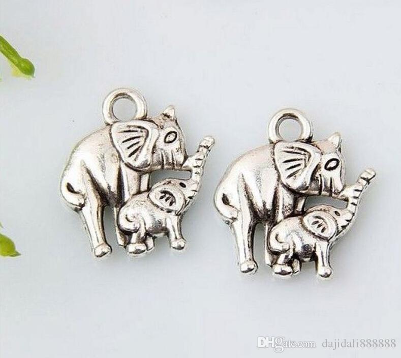 الحار ! Antiqued سبائك الفضة الفيل سحر DIY مجوهرات 12 × 15 مم 374