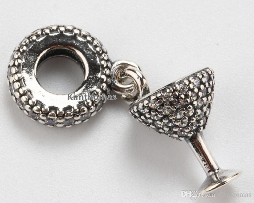 925 Sterling Silver Night Out Ciondola Bead Charm con Clear Cz Adatto europeo Pandora gioielli bracciali collane pendenti