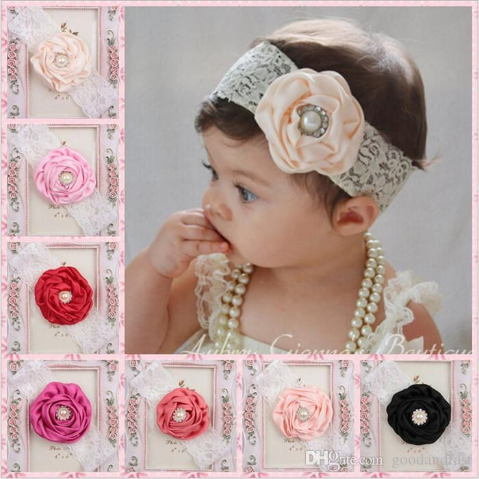 New Baby Girls Flower Lace Headbands Children Pearl Satin Hairbands Infant  Hair Accessories Kids Elastic Lace Hair Bands For Girls KHA88 Green Hair ... 8818078c3ff2