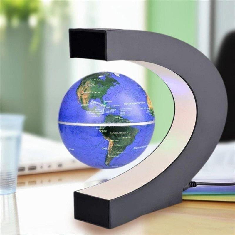 Nouveauté C Shape LED Carte du monde FLOTANT GLOBE Lévitations magnétiques Lumière antigravité Magie / Novel Lamp Jet d'anniversaire Accueil Deck Lampe de nuit