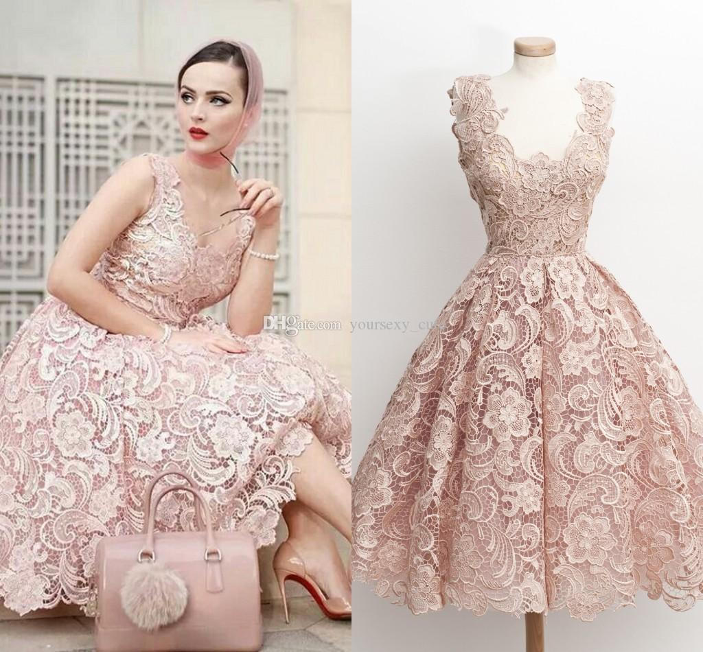 Fashion Pink Lace Short Prom Dresses Scoop Neck Sleeveless Tea