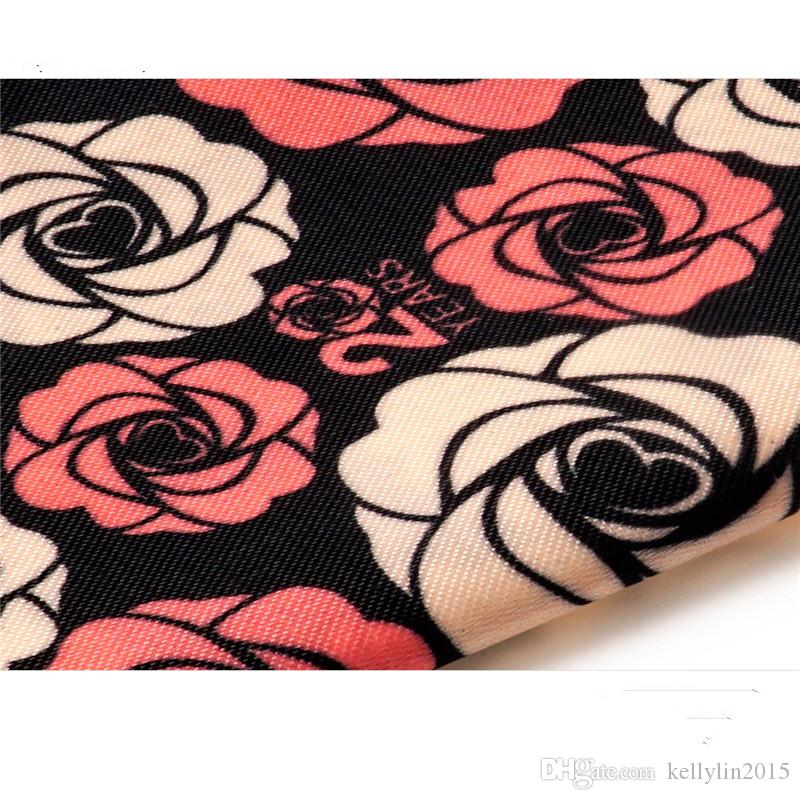 Makeup Cosmetics Bags Zipper Pouch Canvas Organizer Storage Bag Cases Flower Black Rose Daffodil Dance Female Portable Travel Make up Bag