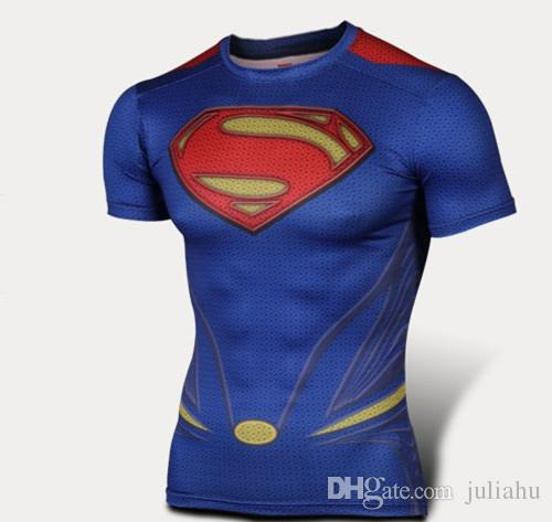 Superman t shirt man of steel gym bodybuilding lycra tees for Man of steel t shirt online