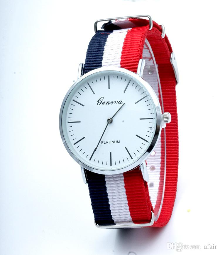 2015 Nuevo diseño Multicolor Geneva Daniel Reloj Raya Tela Lona de Nylon Correa Ultra delgado mAn womAn Unisex Relojes de Cuarzo Deporte Wristatch