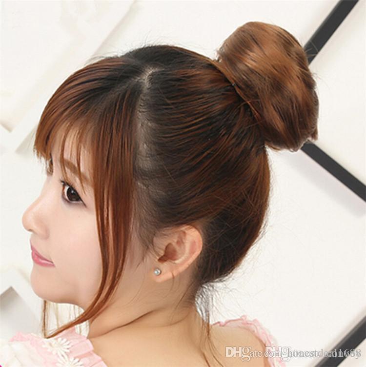 Womens Girls Straight Hair Bun Synthetic Scrunchie Hair Bun Cover