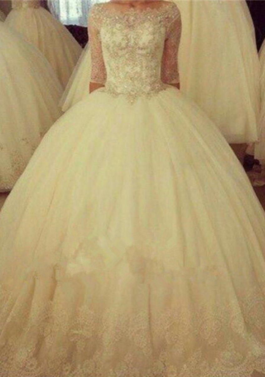 2018 Scoop Neck Ball Gown Wedding Dresses Half Sleeve Appliques Beaded Lace up Back Tulle Bridal Dresses Wedding Gowns Vestido De Novia