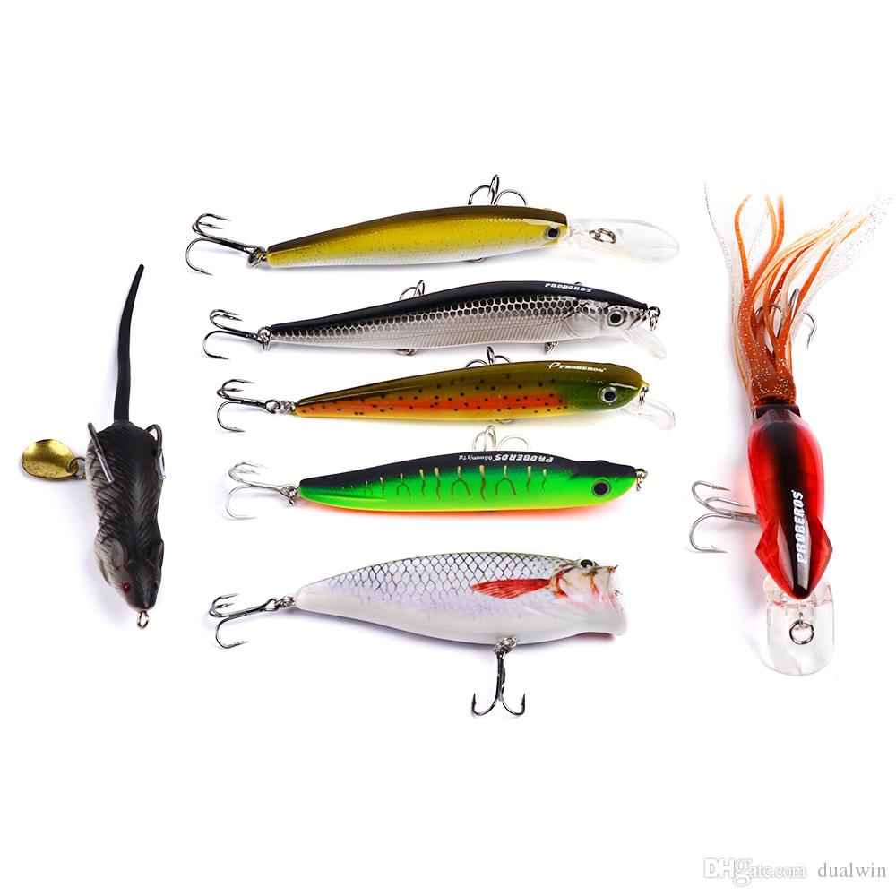 plastic fishing lures set with big 2-layer retail box, assorted fishing bait hard bait DW-S08